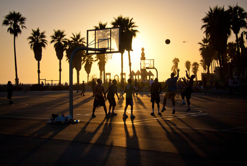 Basketball-at-sunset