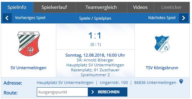 SV Untermeitingen gegen TSV Königsbrunn
