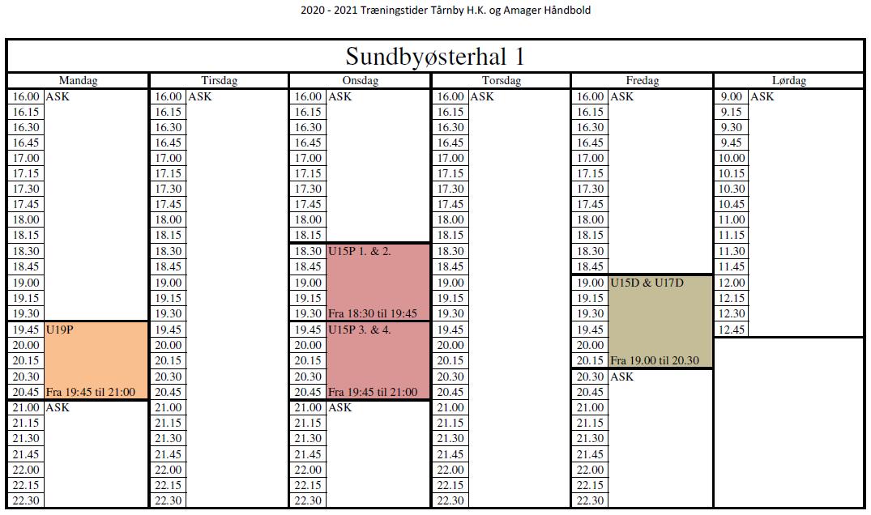 2020-21 THK Træningstider Sundbyøsterhal 1