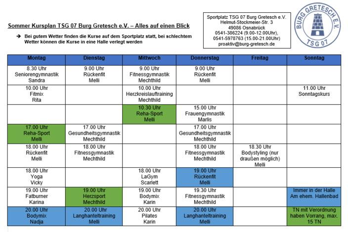 Sommer-kursplan